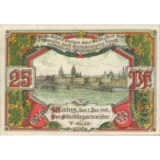 Mainz Stadt, 1x25pf, 1x50pf, Set of 2 Notes, 860.1a