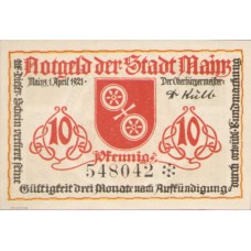 Mainz Stadt, 1x10pf, 1x25pf, 1x50pf, Set of 3 Notes, 860.2a