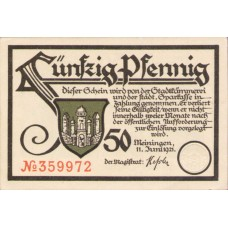 Meiningen Stadt, 4x50pf, Set of 4 Notes, 877.1