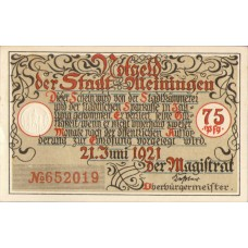 Meiningen Stadt, 4x75pf, Set of 4 Notes, 877.2