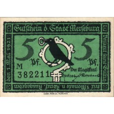 Merseburg Stadt, 1x5pf, 1x10pf, 1x20pf, 1x25pf, 6x50pf, Set of 10 Notes, 884.1