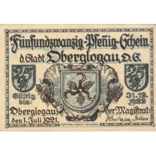 Oberglogau Stadt, 1x25pf, 1x50pf, 1x75pf, Set of 3 Notes, 994.1b