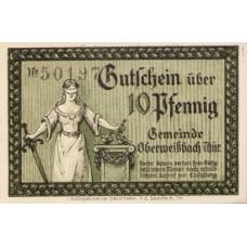 Oberweißbach, Cursdorf Deesbach und Lichtenhain Gemeinden, 1x10pf, 1x25pf, 3x50pf, Set of 5 Notes, 1003.1