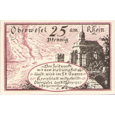 Oberwesel Stadt, 1x25pf, 1x50pf, Set of 2 Notes, 1004.1 and 1004.2