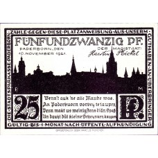 Paderborn Stadt, 1x25pf, 1x50pf, 1x75pf, 1x1mk, 1x2mk, Set of 5 Notes, 1043.4