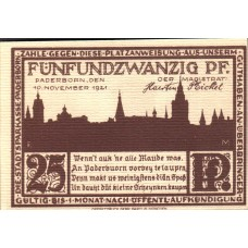 Paderborn Stadt, 1x25pf, 1x50pf, 1x75pf, 1x1mk, 1x2mk, Set of 5 Notes, 1043.5