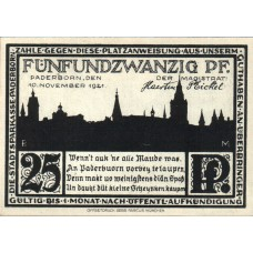 Paderborn Stadt, 1x25pf, 1x50pf, 1x75pf, 1x1mk, 1x2mk, Set of 5 Notes, 1043.6