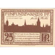 Paderborn Stadt, 1x25pf, 1x50pf, 1x75pf, 1x1mk, 1x2mk, Set of 5 Notes, 1043.7