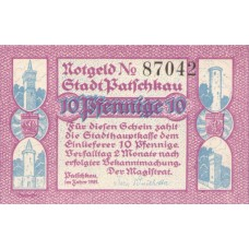 Patschkau Stadt, 1x10pf, 1x25pf, 1x50pf, Set of 3 Notes, 1052.1