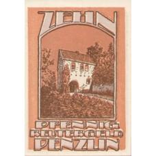 Penzlin Stadt, 1x10pf, 1x25pf, 1x50pf, Set of 3 Notes, 1055.1