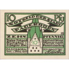 Paderborn Stadt, 1x10pf, Set of 1 Note, P1.2