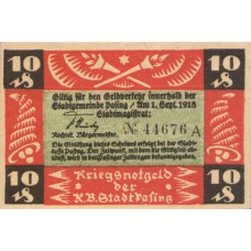 Pasing Stadt, 2x10pf, 1x25pf, Set of 2 Notes, P6.1