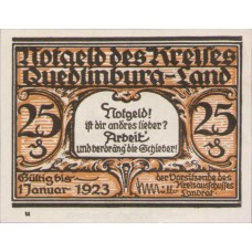 Quedlinburg-Land Kreis, 25 Pfennig, 1089.1b