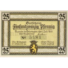 Ranis Stadt, 1x25pf, 1x50pf, Set of 2 Notes, 1096.1