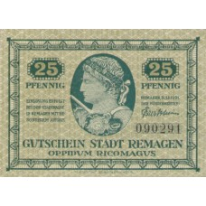 Remagen Stadt, 1x25pf, 1x50pf, Set of 2 Notes, R24.2