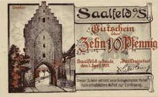 Saalfeld Stadt, 1x10pf, 1x25pf, 1x50pf, Set of 3 Notes, 1155.1a