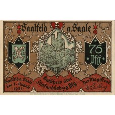 Saalfeld Stadt, 5x75pf, Set of 5 Notes, 1155.5b