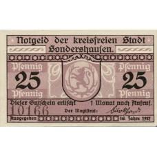 Sondershausen Stadt, 1x25pf, Set of 1 Note, 1241.2b