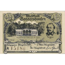 Sondershausen Stadt, 4x50pf, Set of 4 Notes with matched SN, 1241.4a